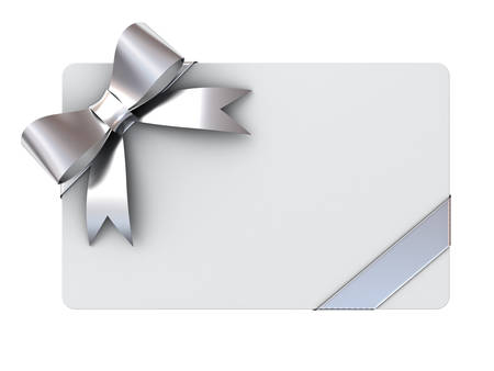 christmas wishes: Blank gift card with silver ribbons and bow isolated on white background
