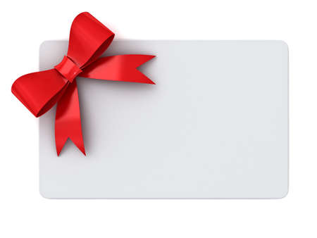 Blank gift card with red ribbons and bow concept isolated on white background