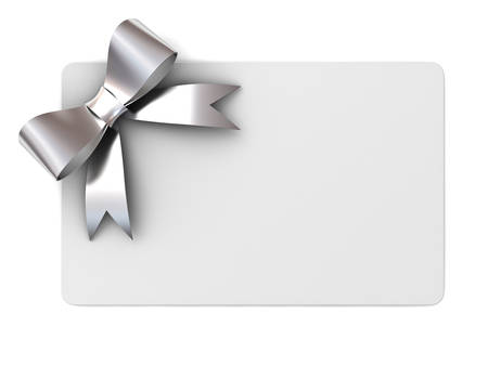 Blank gift card with silver ribbons and bow concept isolated on white background Stockfoto