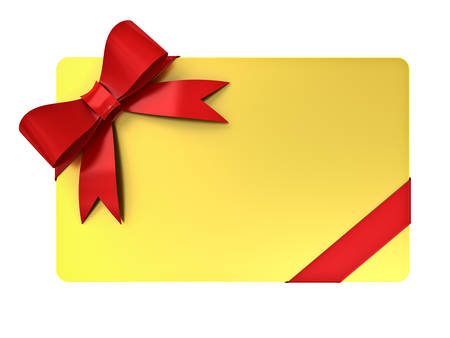 Gold blank gift card with red ribbons and bow isolated over white background