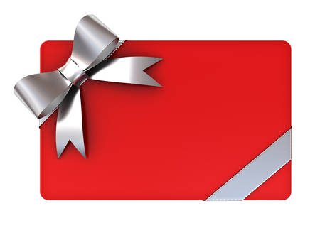Red blank gift card with silver ribbons and bow isolated on white background