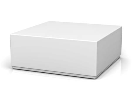 Blank box with lid on white background with reflection Foto de archivo