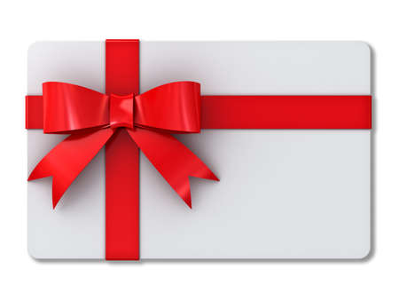 Blank gift card with red ribbons and bow isolated on white background with shadow Foto de archivo
