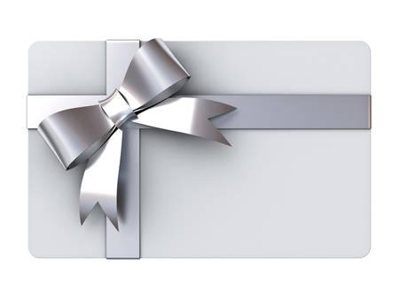 실버 리본 및 빈 선물 카드에 격리 된 흰색 배경에 활 스톡 콘텐츠