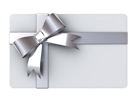Blank gift card with silver ribbons and bow isolated on white background