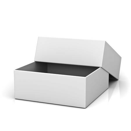 Blank open box with lid on white background with reflection