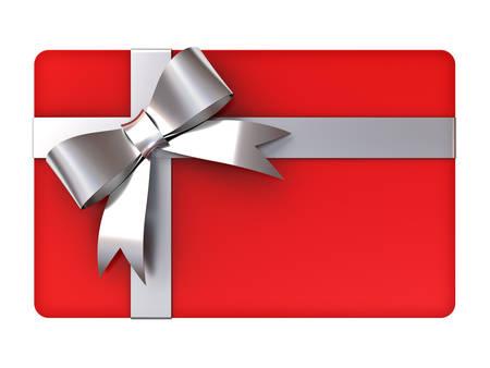 銀リボンと弓の白い背景に分離された空白の赤いギフト カード
