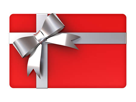 Blank red gift card with silver ribbons and bow isolated on white background Foto de archivo