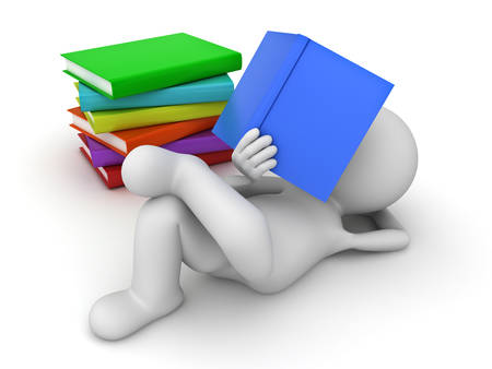 3d man lying down and reading a pile of books over white background