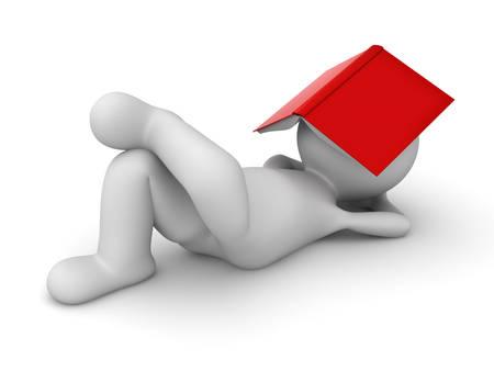 persona leyendo: 3d hombre que se acuesta con un libro rojo que cubre su rostro sobre fondo blanco piso