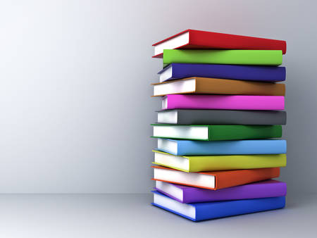 Stack of 3d render colorful books over white wall background with shadow