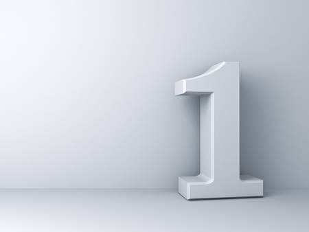 numero uno: 3D número uno sobre el fondo blanco Foto de archivo