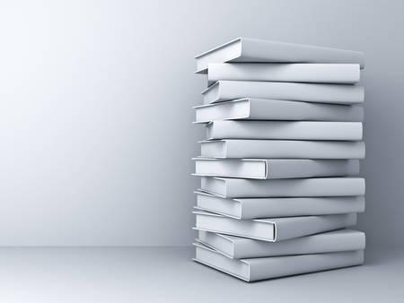 Stos książek 3D White nad białym tle ściany z cienia