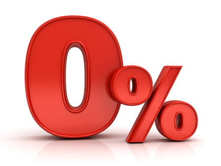 installment: Red zero percent or 0 % isolated over white background with reflection Stock Photo