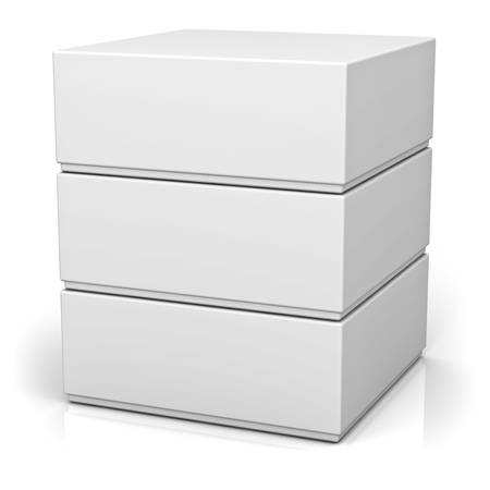 package sending: Three blank boxes with lids isolated on white background with reflection