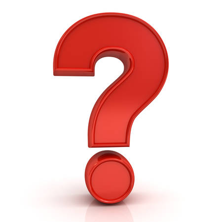 punto di domanda: Rosso punto interrogativo isolato su sfondo bianco con la riflessione