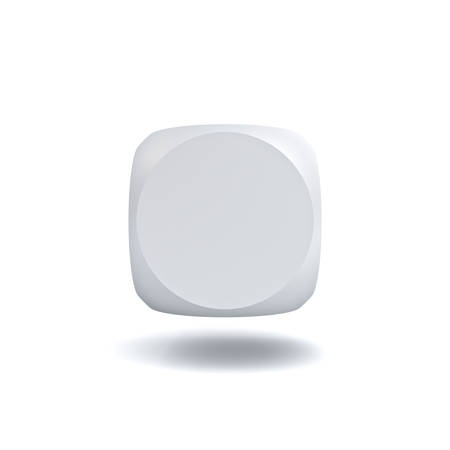blank button: Blank button isolated on white background with shadow. 3D rendering.