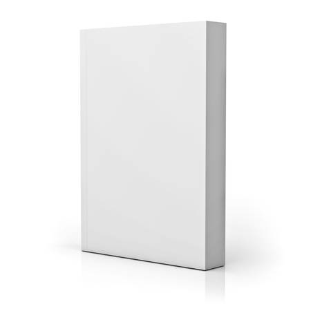 Blank paperback book cover isolated over white background with reflection. 3D rendering. 免版税图像