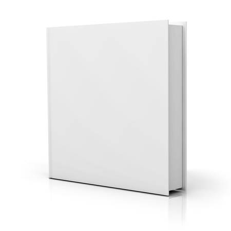 noname: Blank square book cover over white background with reflection