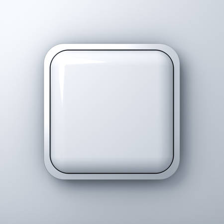 rectangular: Blank square button or billboard with chrome metal frame over white wall background with shadow. 3D rendering.
