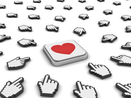 clicking: Many hand cursors mouse clicking red heart button or link isolated on white background.3D rendering.