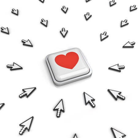 cursors: Many arrow cursors mouse clicking red heart button or link isolated on white background with reflection. 3D rendering. Stock Photo