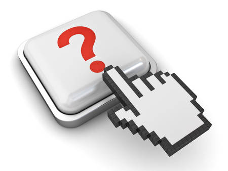 clicking: Hand cursor mouse clicking question button isolated over white background with reflection. 3D rendering Stock Photo