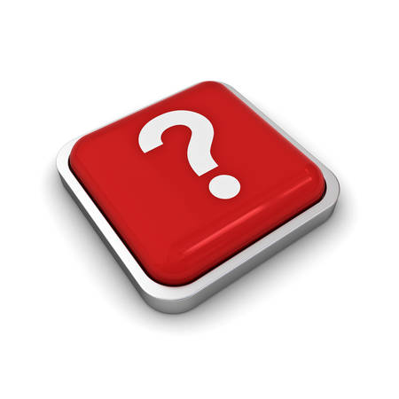 questionmark: Question mark button isolated over white background with shadow. 3D rendering Stock Photo
