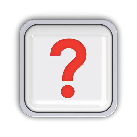uncertain: Question button isolated over white background with shadow. 3D rendering.