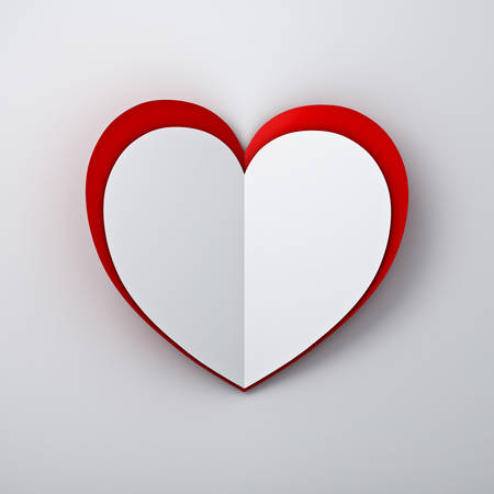 folded: White heart paper on red heart paper on white wall background with shadow. 3D rendering. Stock Photo