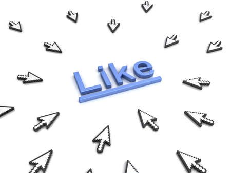 cursors: Like concept many arrow cursors mouse clicking like button or link on white background with reflection. 3D rendering. Stock Photo
