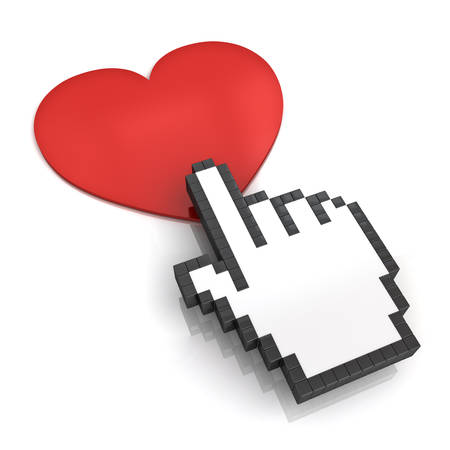 clicking: Hand cursor clicking love button or link isolated on white background with shadow and reflection. 3D rendering. Stock Photo