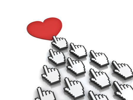 feedback link: Many hand cursors mouse clicking red heart button or link concept isolated on white background.3D rendering. Stock Photo
