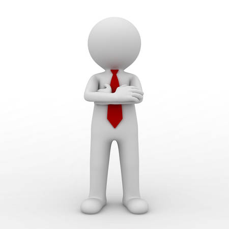 3d business man standing with arms crossed isolated over white background. 3D rendering. Stock Photo