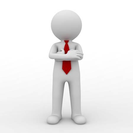 3d hombre de negocios de pie con los brazos cruzados aislados sobre fondo blanco. representación 3D. Foto de archivo