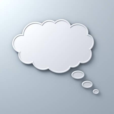 Denken Blase Konzept über weiße Wand Hintergrund. 3D-Rendering.