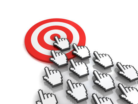 clicking: Goal target concept many hand cursors mouse clicking in the center of the red dart board or target on white background with reflection. 3D rendering.