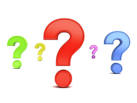 questionmark: Colorful question marks isolated over white background with shadow. 3D rendering.