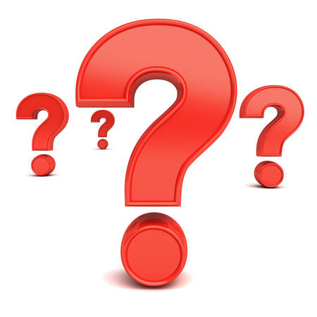 uncertain: Red question marks isolated over white background with reflection and shadow. 3D rendering. Stock Photo