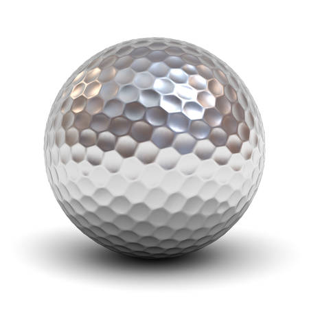 Metal golf ball isolated over white background with reflection and shadow. 3D rendering. Stock fotó