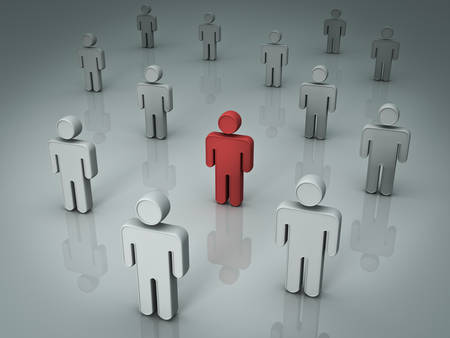 among: Red man stand out from the crowd different concept. 3D rendering.