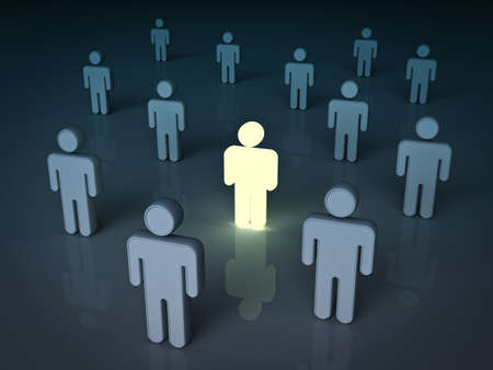 stand out: Stand out from the crowd and different concept , One light man standing with other dim people. 3D rendering. Stock Photo
