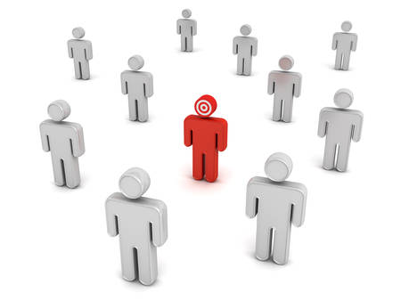 Red man stand out from the crowd different concept isolated over white background. 3D rendering. Stock Photo