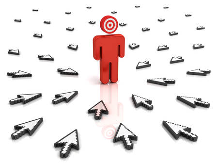 him: Target man with many arrow cursors aiming at him isolated over white background with reflection. 3D rendering.