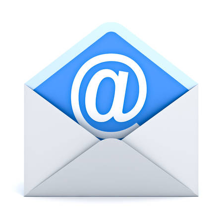 e mail: White at sign mail in envelope E mail concept isolated on white background. 3D rendering. Stock Photo
