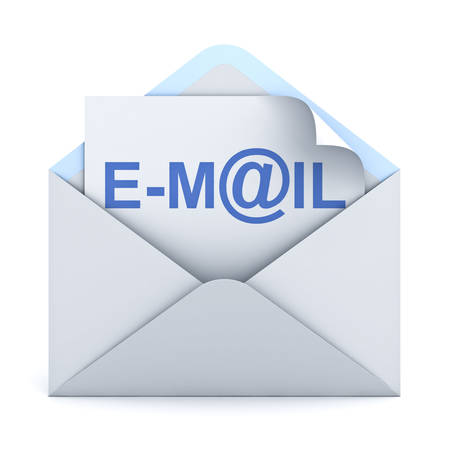 e mail: E mail concept isolated over white background. 3D rendering.
