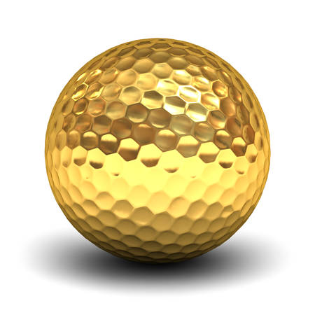 Gold golf ball isolated over white background with reflection and shadow. 3D rendering.