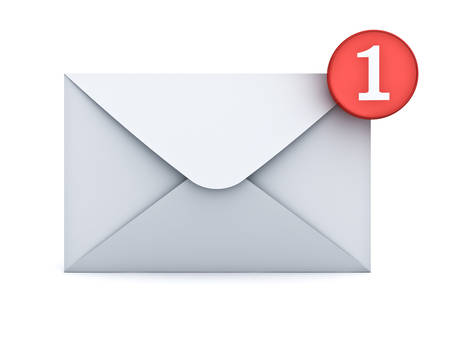 e mail: E mail notification one new email message in the inbox concept isolated on white background with shadow. 3D rendering. Stock Photo
