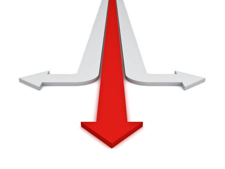 different directions: One red straight arrows showing three different directions concept isolated over white background. 3D rendering.