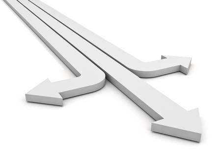 flechas direccion: Tres flechas que muestra tres formas diferentes aislados sobre fondo blanco. representación 3D.